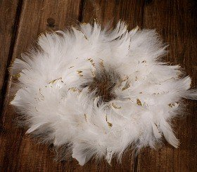 Wreath of feather snowy 20-25cm