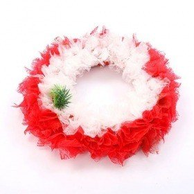 Wreath of feather white-red 25cm