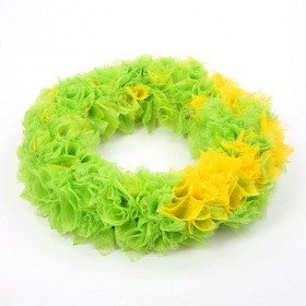 Wreath of feather yellow-green 25cm