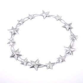 Wreath of metal stars silver 20 cm