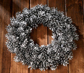 Wreath of silver cones  ca.30cm