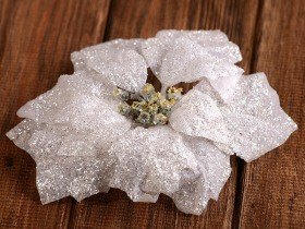 poinsettia, glittered, white-silver, 18 cm
