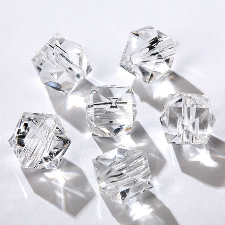 Acrylic diamond cubes with slot 24pcs/pkg transparent