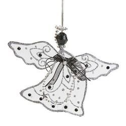 Angel pendant, 2 pcs /pkg - black