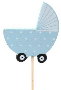 Baby cart on stick, wooden, blue