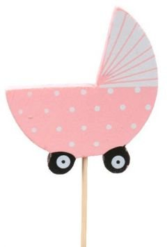 Baby cart on stick, wooden, pink