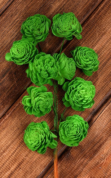 Belly 20-25 mm flowers on wire 15pcs/pkg - green