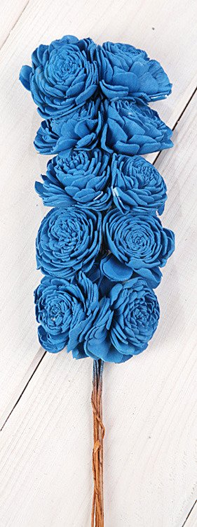 Belly 20-25mm flowers on wire 15 pcs blue