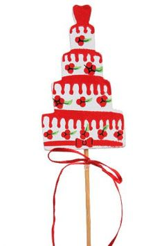 Birthday cake on stick, wooden, white