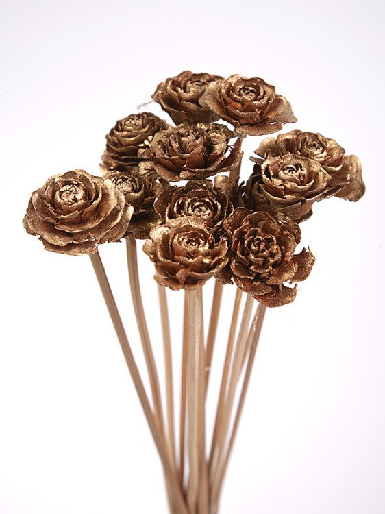 Bouquet of 12 Cedar Wood Roses Floral Picks Gold
