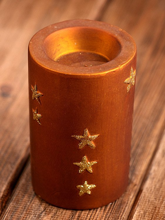 Brown-Gold candle holder 11.5cm