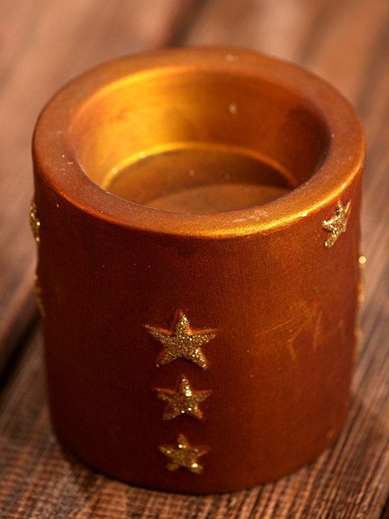 Brown-Gold candle holder 7cm