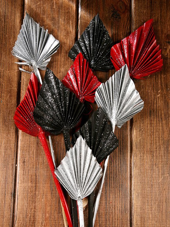Bunch of dry palm leaves - red,silver, black, glittered