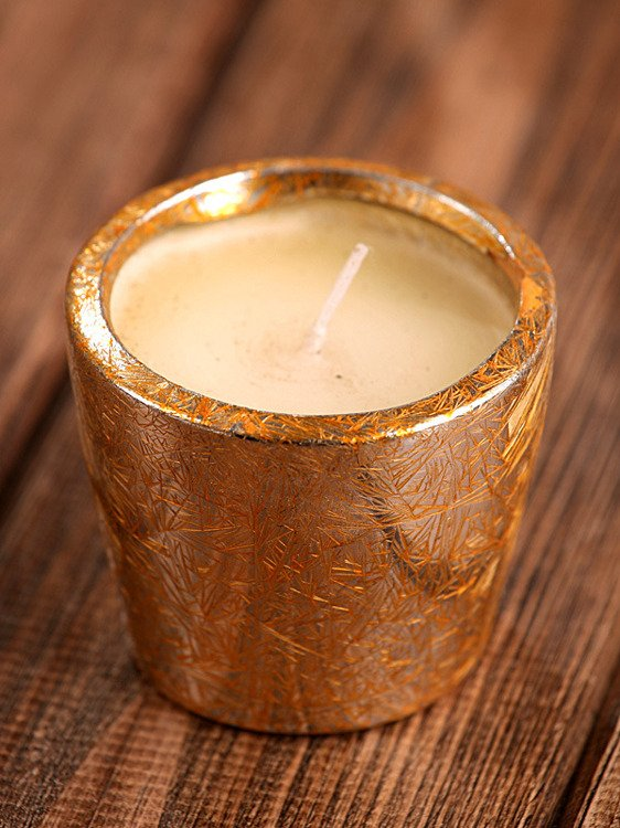 Candle round holder gold 5.5cm