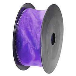 Chiffon ribbon with wire, width 4 cm, length 10m (violet)
