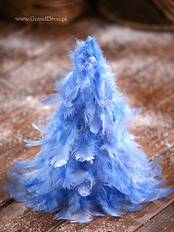 Cone of feathers ca.28cm blue