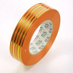 Decorative ribbon 30 mm colorful with stripe length 45 m - BG04