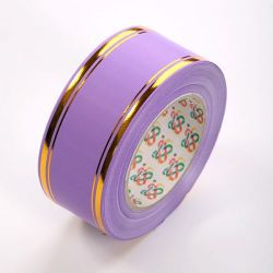 Decorative tape 50 mm, colourful with a stripe, length 45 m - bright violet