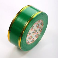 Decorative tape 50 mm, colourful with a stripe, length 45 m - green
