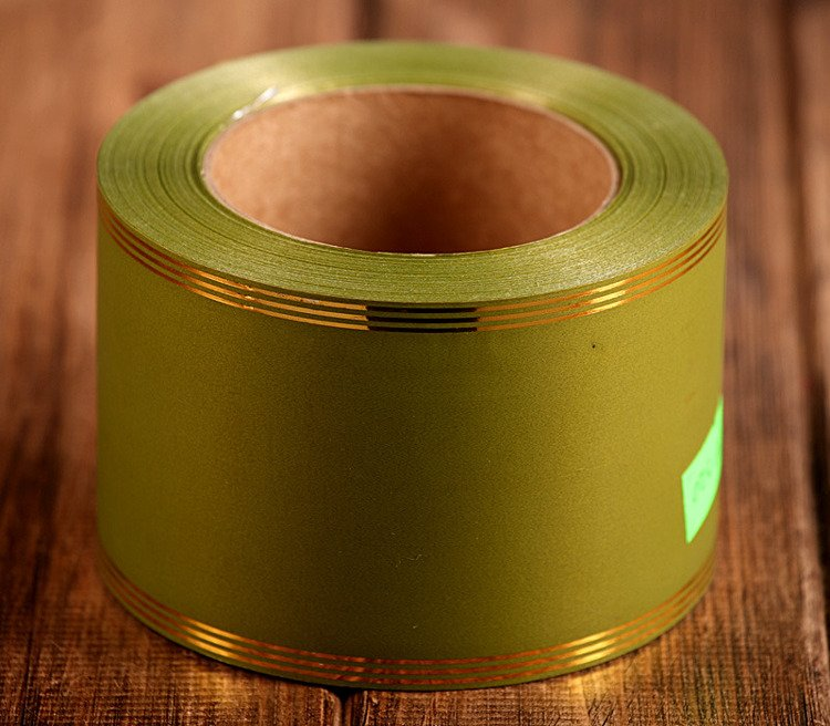 Decorative tape wide with strip 8cm/45m- olive green
