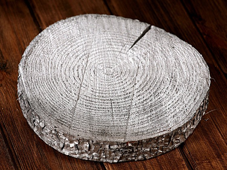 Extra Large Slice of wood (D:20-25cm) (T:2-3cm) Silver