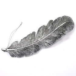 Feather - hanger - metal imitation - silver, antique 20 cm