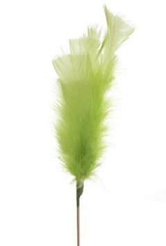 Feathers on stick (3 pcs) 34 cm, green