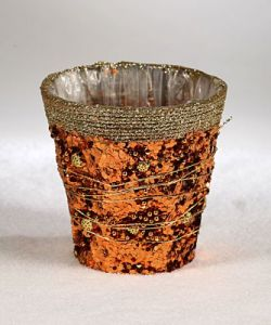 Flower pot cover, glittered, diameter 10 cm
