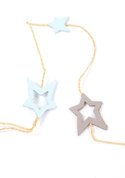 Garland blue-lilac wooden stars on string 12 stars - 160 cm