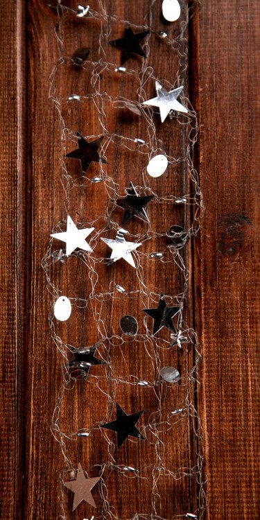 Garland wire silver with stars 4,5 cm/150 cm