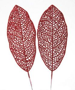 Glittered leaf, 25 cm, red