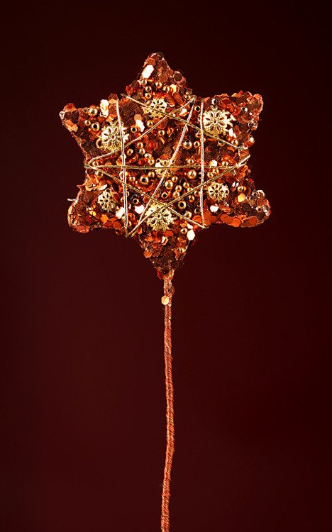 Glittered star on stick, 10 cm