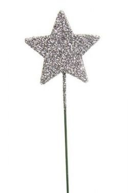 Glittered stars on wire, 6 pcs. /pkg - silver