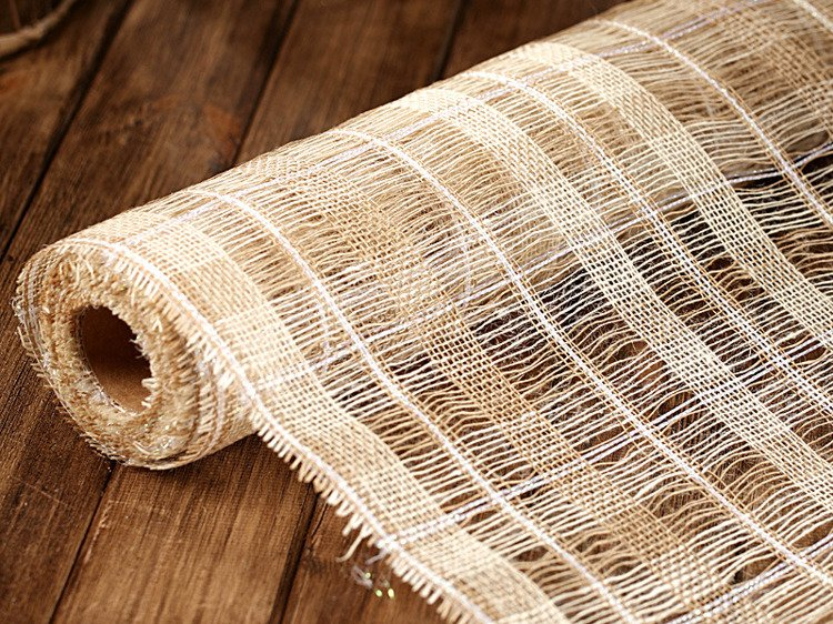 Jute fabric 50cm x 5m - pattern, natural with gold thread