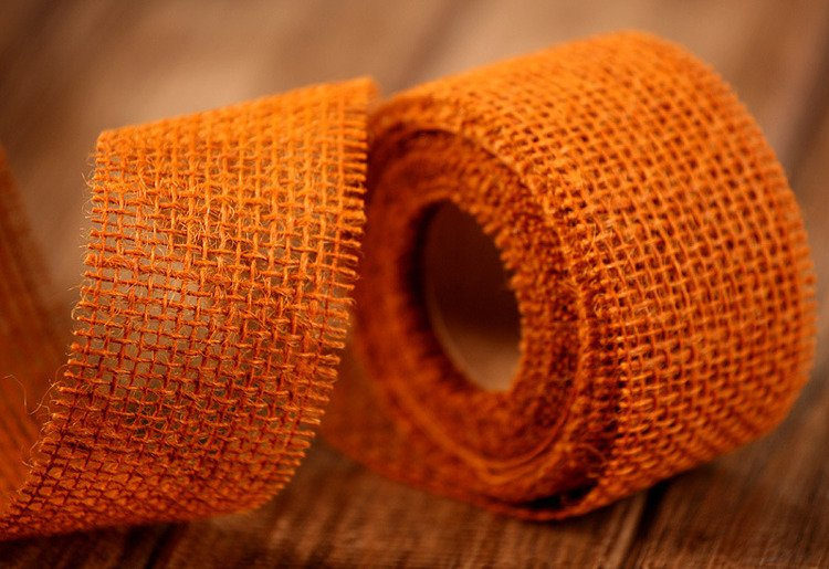 Jute ribbon Jacob Collection thick (320 g/m2) 5 cm / 5 m brown-orange