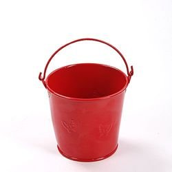 Metal bucket 8 x 8 cm, red