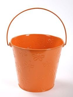 Metal bucket with the pattern of flowers, 16 x 14.5 x 11.5, orange