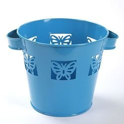 Metal flower pot with two handles decorated with butterflies, blue