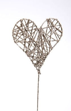 Metal silver heart on stick 26cm