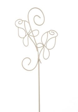 Metal white roses on stick 75 cm