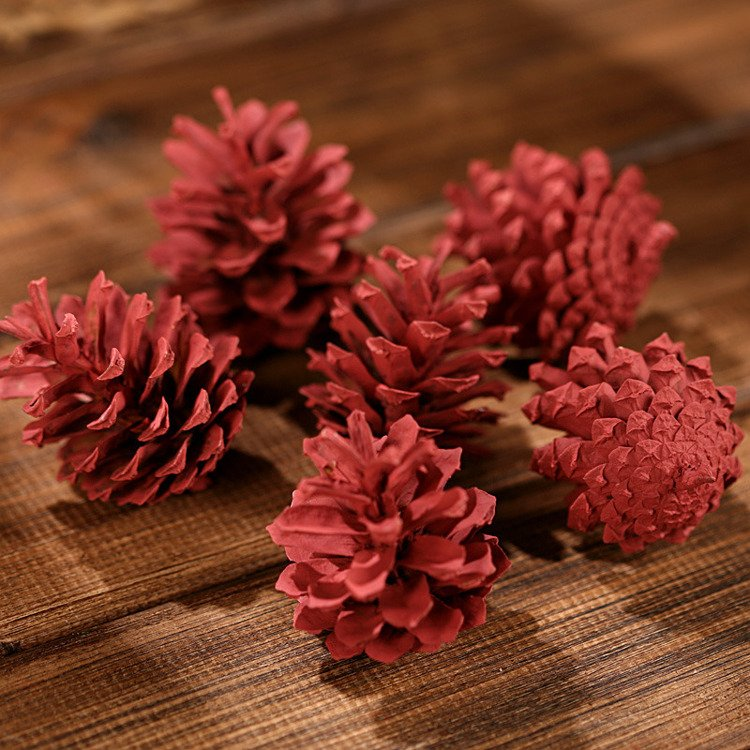 Mountain pine cone, 12 pcs/pkg claret