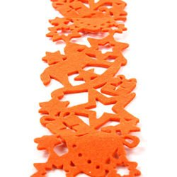 Orange felt garland 9 cm x 180 cm