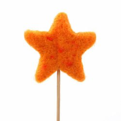 Orange felt star on stick 8 cm/30 cm
