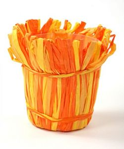 Raffia flower pot cover, orange