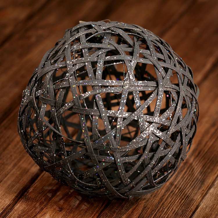 Rattan glittered ball, anthracite 20 cm