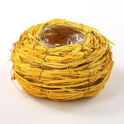 Round basket, 16 cm diameter, yellow