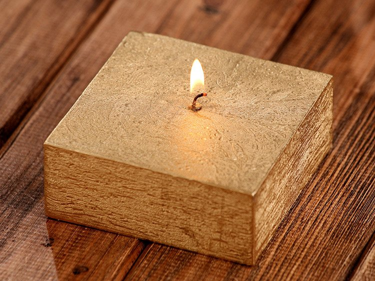 Rustic candle 40/100/100mm gold