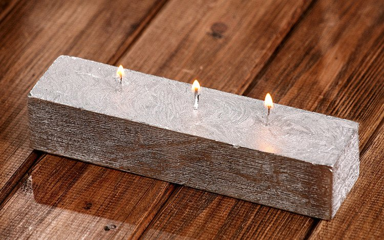 Rustic candle 40/50/200mm Silver
