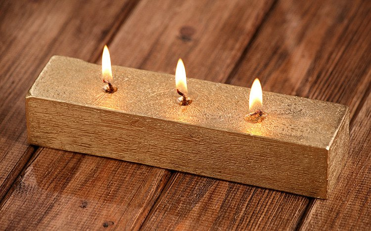Rustic candle 40/50/200mm gold