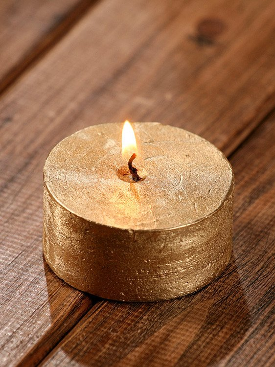 Rustic candle 65mm gold